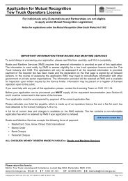 Application for Mutual Recognition Tow Truck Operators Licence - RTA