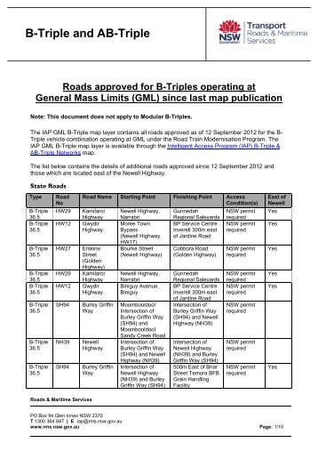 List of roads approved for Triples since last map publication - RTA