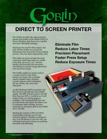direct to screen printer - RTI Global Inc.