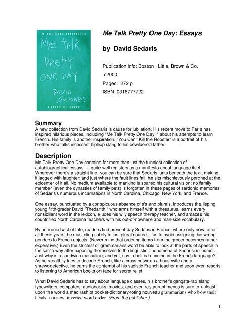 de523d8910504b Me Talk Pretty One Day  Essays by David Sedaris Description