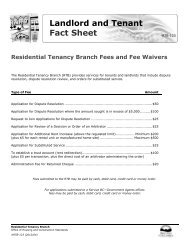 Residential Tenancy Branch Fees and Fee Waivers