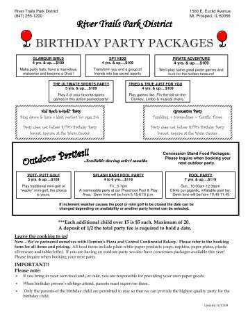 BIRTHDAY PARTY PACKAGES - River Trails Park District