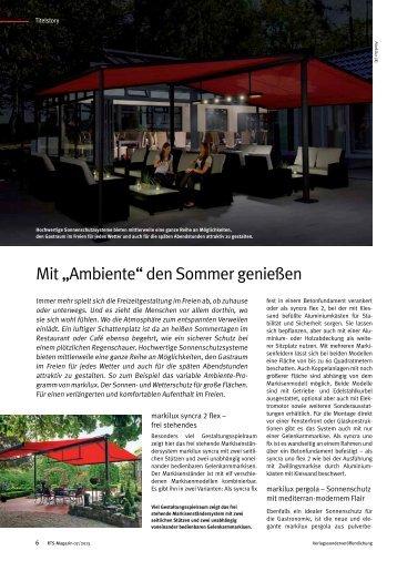 """Mit """"Ambiente"""" den Sommer genießen - RTS Magazin"""