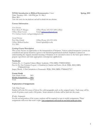 1 NT524: Introduction to Biblical Hermeneutics 2 hours Spring, 2012 ...
