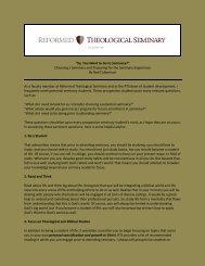Choosing a Seminary - Reformed Theological Seminary