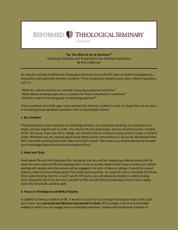 Choosing a Seminary - Reformed Theological Seminary