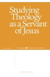 Studying Theology as a Servant of Jesus - Reformed Theological ...