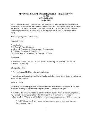 MACRO—HERMENEUTICS - Reformed Theological Seminary