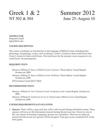 Greek 1 & 2 Summer 2012 - Reformed Theological Seminary