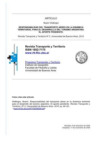 Responsabilidad del transporte aéreo en la dinámica territorial para ...