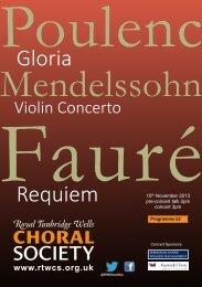 Programme Nov13a - Royal Tunbridge Wells Choral Society