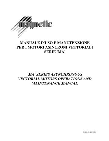'ma' series asynchronous vectorial motors operations a