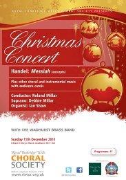 Xmas 2011 programme - Royal Tunbridge Wells Choral Society