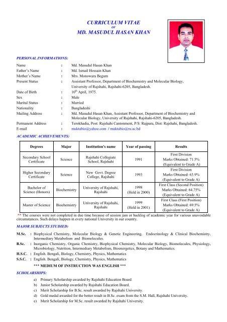 Profile of Dr  Md  Masudul Hasan Khan (in pdf) - Rajshahi University