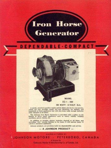 1948 Iron Horse generator brochure - ruc enterprises