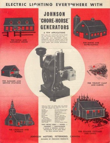 1939 Chore-Horse generator brochure - ruc enterprises