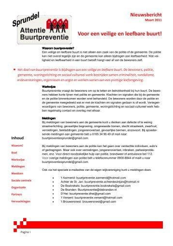Folder buurtpreventie Sprundel - Gemeente Rucphen