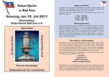 Kaiser-Sprint in Bad Ems Samstag, den 16. Juli 2011 Veranstalter