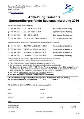 Anmeldung Grundlehrgang 2010 - Bayerischer Ruderverband