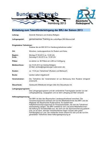 Ausschreibung - Bayerischer Ruderverband