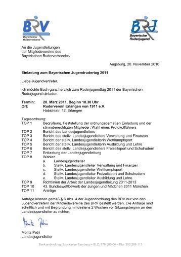 Einladung RJT 2011 - Bayerischer Ruderverband