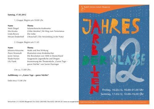 Samstag, 17.03.2012 1. Gruppe: Beginn um 10:00 Uhr Name ...
