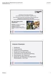 Inhalte der Präsentation: 1. Hintergrund 2 ... - Rudolfinerhaus