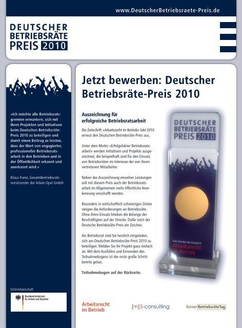 Jetzt bewerben: Deutscher Betriebsräte-Preis 2010