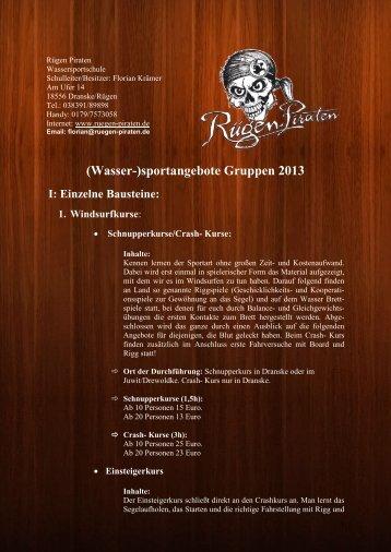 (Wasser-)sportangebote Gruppen 2013 I: Einzelne ... - Rügen Piraten