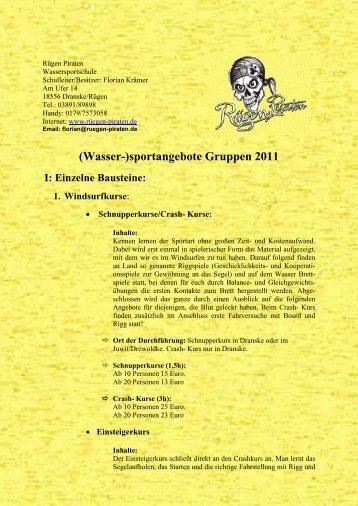 (Wasser-)sportangebote Gruppen 2011 I: Einzelne ... - Rügen Piraten