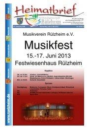 15.-17. Juni 2013 Festwiesenhaus Rülzheim - Verbandsgemeinde ...