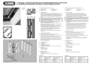 D Montage- und Bedienungsanleitung für ABUS Dachflächenfenster ...