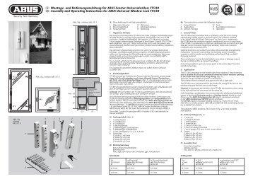 und Bedienungsanleitung für ABUS Fenster-Universalschloss FTS ...