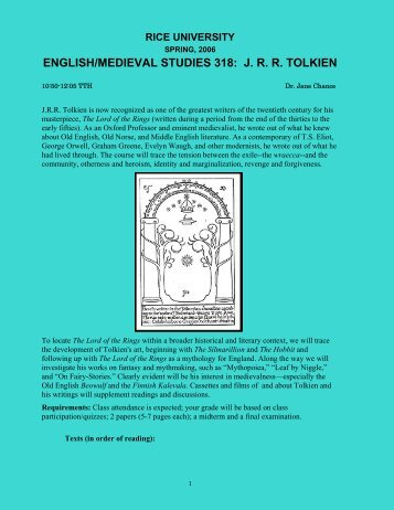 english/medieval studies 318: jrr tolkien - Rice University