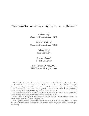 The Cross-Section of Volatility and Expected Returns - Rice University