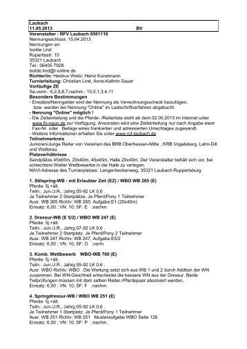 Laubach 11.05.2013 BV Veranstalter : RFV Laubach 6501116 ...