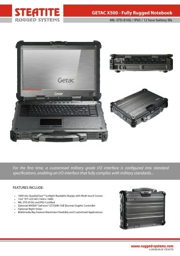 Getac X500 Datasheet - Steatite Rugged Systems