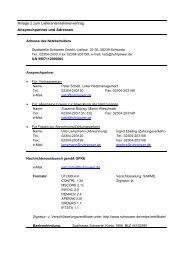Anlage 2 zum Lieferantenrahmenvertrag Ansprechpartner und ...