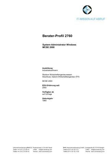 Berater-Profil 2760 - R+K Unternehmensberatung GmbH