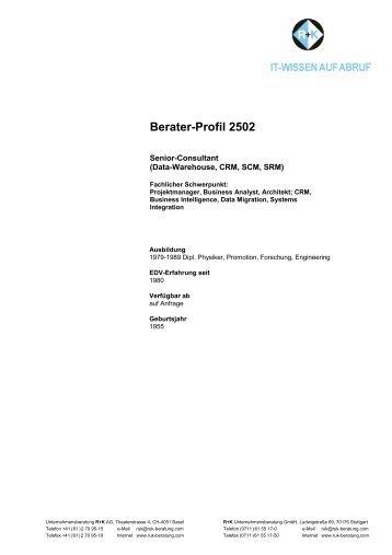 Berater-Profil 2502 - R+K Unternehmensberatung GmbH