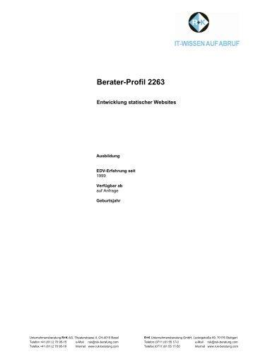 Berater-Profil 2263 - R+K Unternehmensberatung GmbH