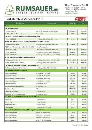 Fort Geräte & Zubehör 2013 - Rumsauer