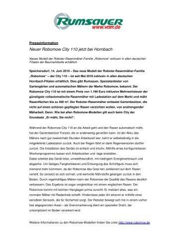 Neuer Robomow City 110 jetzt bei Hornbach - Rumsauer