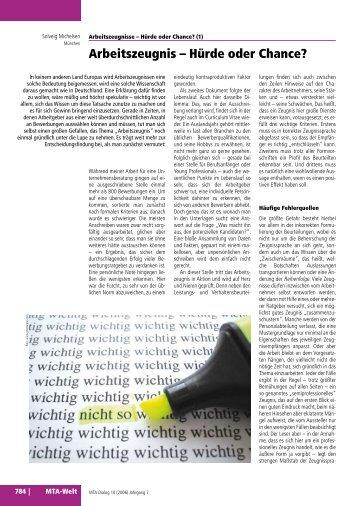 Arbeitszeugnis – Hürde oder Chance? - Agentur für Arbeitszeugnisse