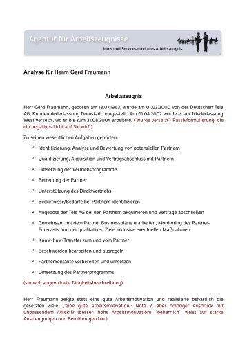 muster agentur fr arbeitszeugnisse - Schlechtes Arbeitszeugnis Beispiel