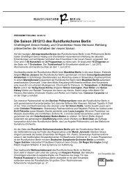PM Jahres-PK 2012/13 - Rundfunkchor Berlin