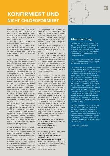 Konfirmiert und nicht chloroformiert - Gemeinde an der Peterskirche