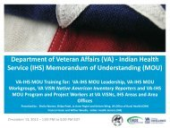 Department of Veteran Affairs (VA) - Indian Health Service