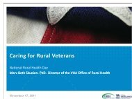 Caring for Rural Veterans - VHA Office of Rural Health