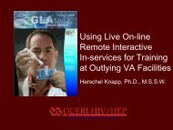 Using Live On-line Remote Interactive In-services For - VHA Office of ...
